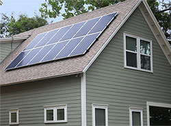 TerraWise Home with solar power panels on roof