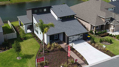 North Jacksonville Aerial View of the TerraWise Homes former St Johns Model with Modern Elevation in our community at Cedarbrook.