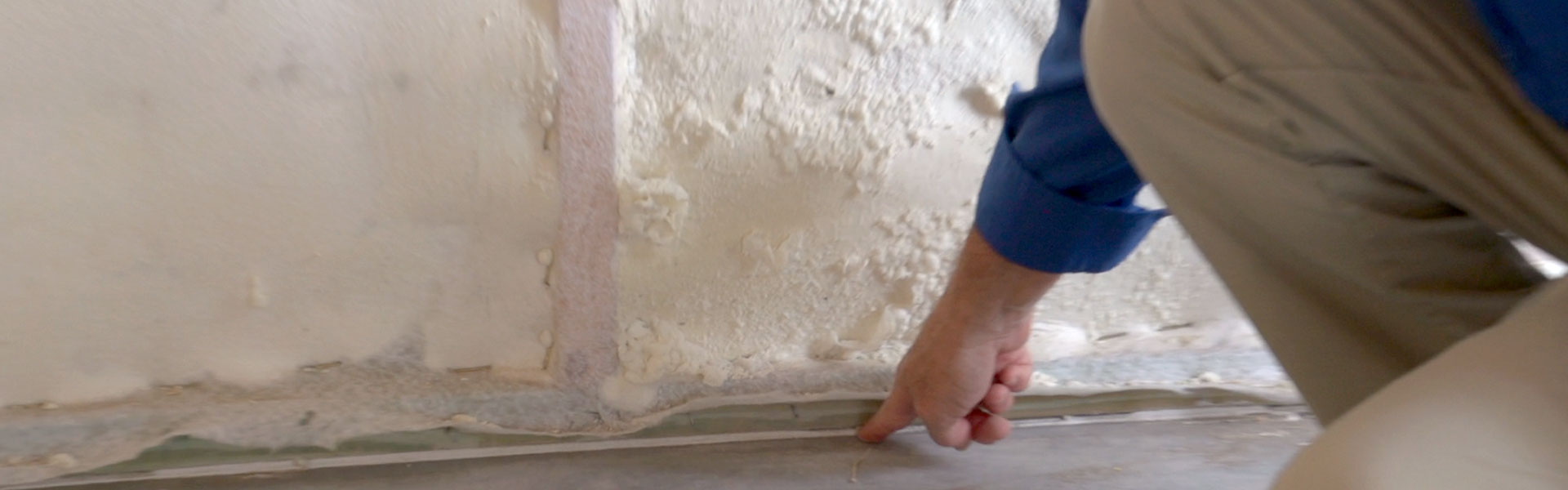 Spray foam sealing - just one way a TerraWise Home earns low HERS score.