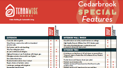 TerraWise Homes Energy Efficient Features in Cedarbrook.