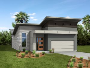 The Satilla Model Modern Elevation Net Zero Energy Home from TerraWise Homes.