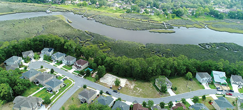 Aerial River View Lots Cedar Bay TerraWise Homes