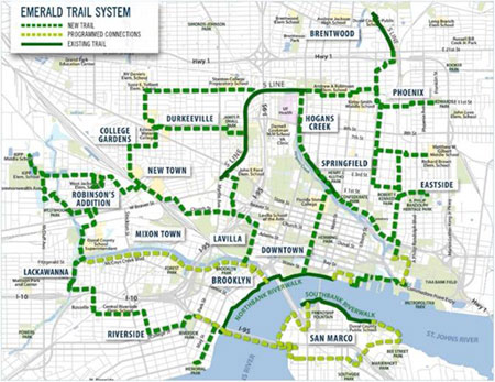 Map of Jacksonville Proposed Emerald Trail System